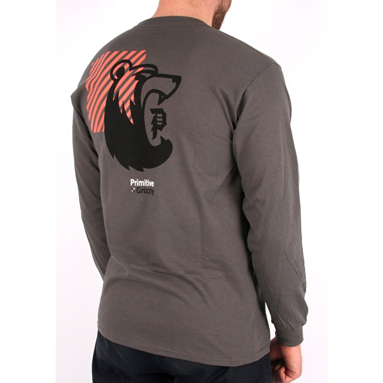 Primitive x Grizzly Bearhaus Long Sleeve T shirt - Coral