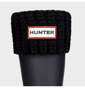 Hunter Half Cardigan Stitch Boot Sock - Black
