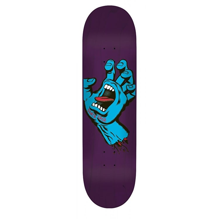 Santa Cruz Team Skateboard Deck - Minimal Hand Purple 8.375""