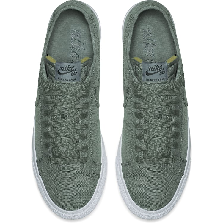 Nike SB Zoom Blazer Low Canvas Deconstructed Skate Shoes - Clay Green/Deep Jungle
