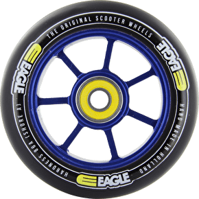 Eagle Blue Anodized Spoked Core Black PU Wheel - 100mm