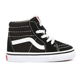 Vans Sk8-Hi High Top Toddler Skate Shoes - Black/True White