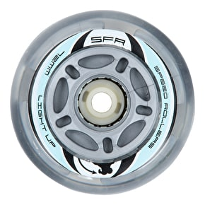 SFR Light Up Inline Skate Wheels - Silver (Pack of 4)