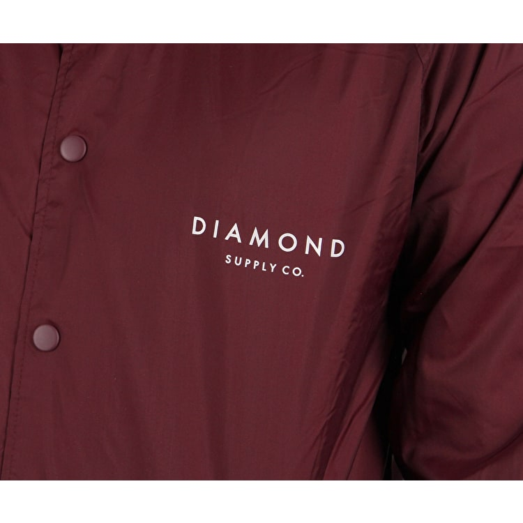 Diamond Stone Cut Coach Jacket - Burgundy