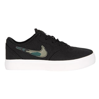 Nike SB Check Canvas Kids Skate Shoes - Black/Medium Olive/Pro Green