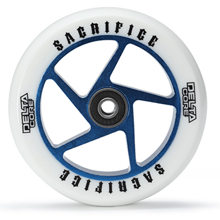 Sacrifice Delta Core 110mm Scooter Wheel w/Bearings - White/Blue SECONDS