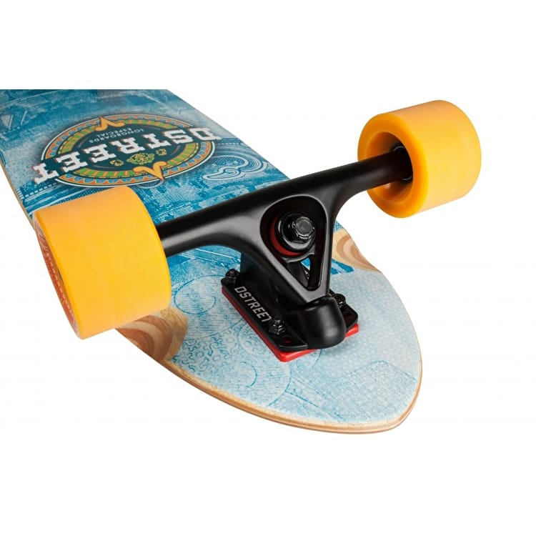 """D-Street Mehico Mayan Bamboo Pintail Complete Longboard - Blue 36"""""""