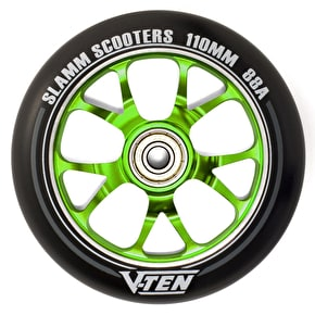 Slamm 110mm V-Ten II Aluminium Core Scooter Wheel - Black/Green