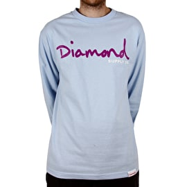 Diamond Supply Co OG Script Long Sleeve T Shirt - Powder Blue