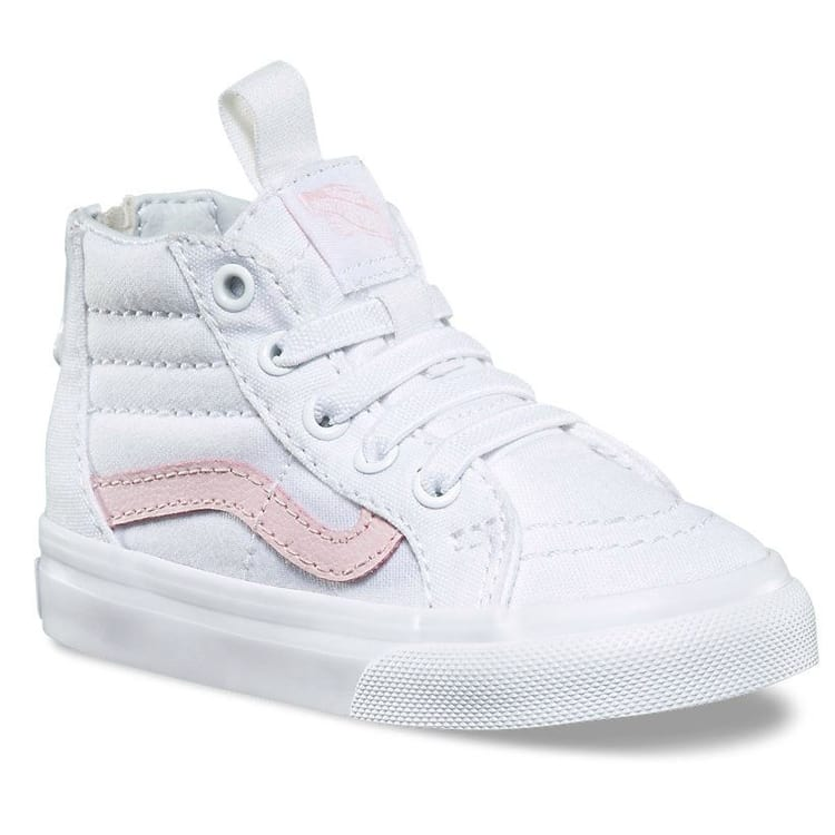 Vans Sk8-Hi Zip Toddler Shoes - True White/Chalk Pink