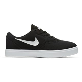 Nike SB Check Canvas Kids Skate Shoes - Black/White