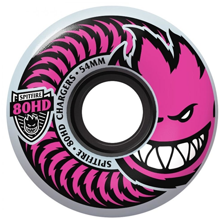 Spitfire Charger Pushing For Pink 80HD Skateboard Wheels - White 54mm