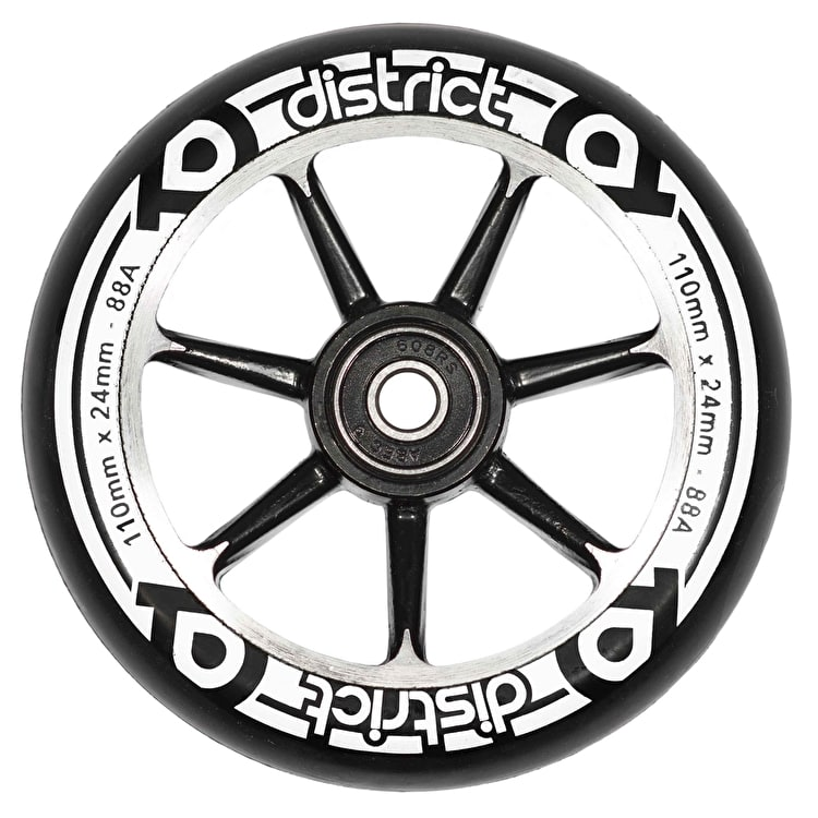 District 110mm Alloy Core Scooter Wheel - Black/Black