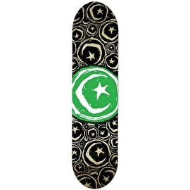 Foundation Star & Moon Stickered Green Team Skateboard Deck - 8.375