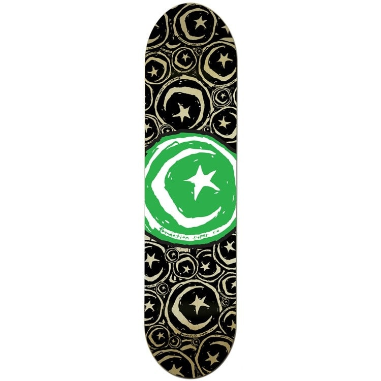 Foundation Star & Moon Stickered Green Team Skateboard Deck - 8.375""