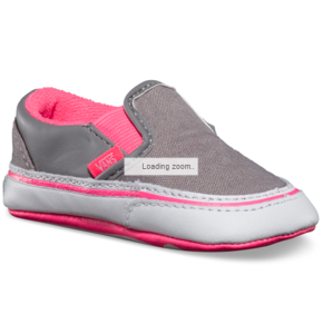 Vans Classic Slip On Crib Shoes - Frost Grey/Neon Pink