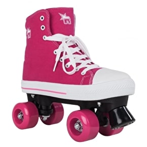 B-Stock Rookie Canvas Quad Rollerskates- Pink - UK 5 (Box Damage)