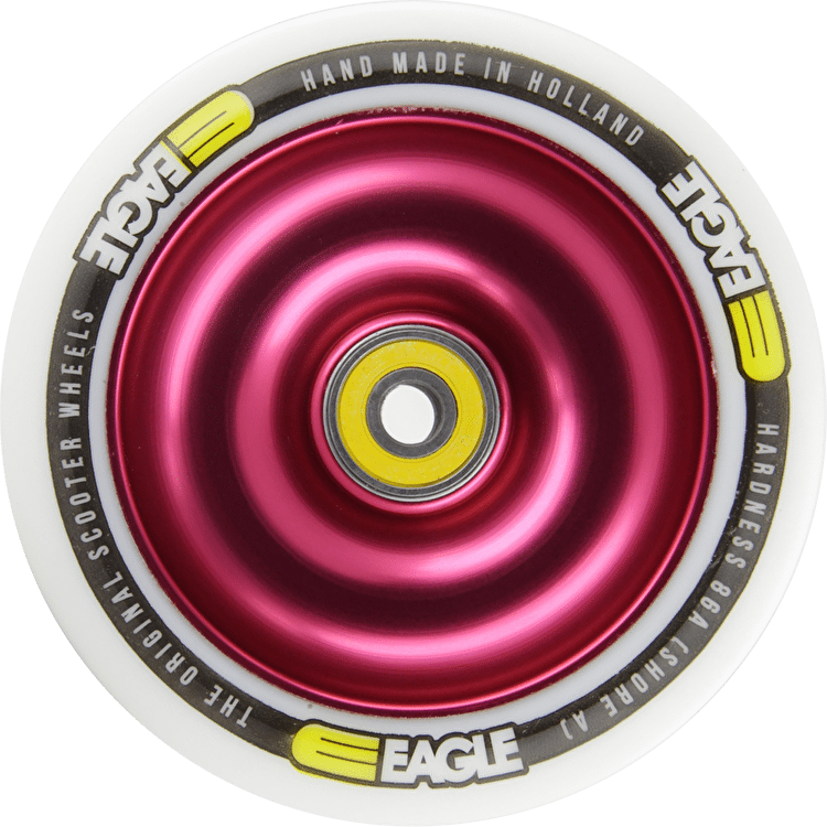 Eagle Red Anodized Full Metal Core White PU Wheel - 110mm