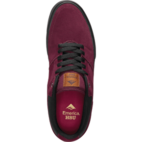 Emerica The Hsu Low Vulc Skate Shoes - Burgundy