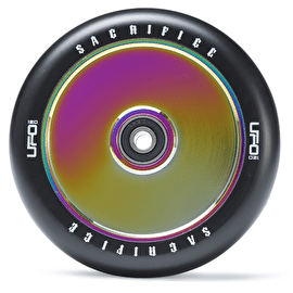 B-Stock Sacrifice UFO 120mm Scooter Wheel w/Bearings - Black/Neochrome (Cosmetic)