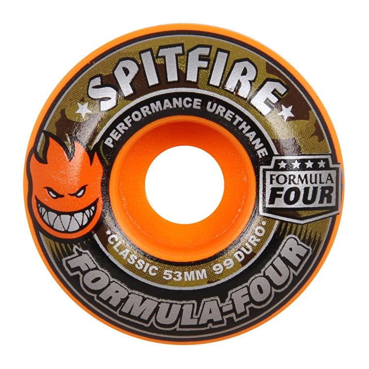 Spitfire Formula Four Covert Classic 99D Skateboard Wheels - Orange 53mm