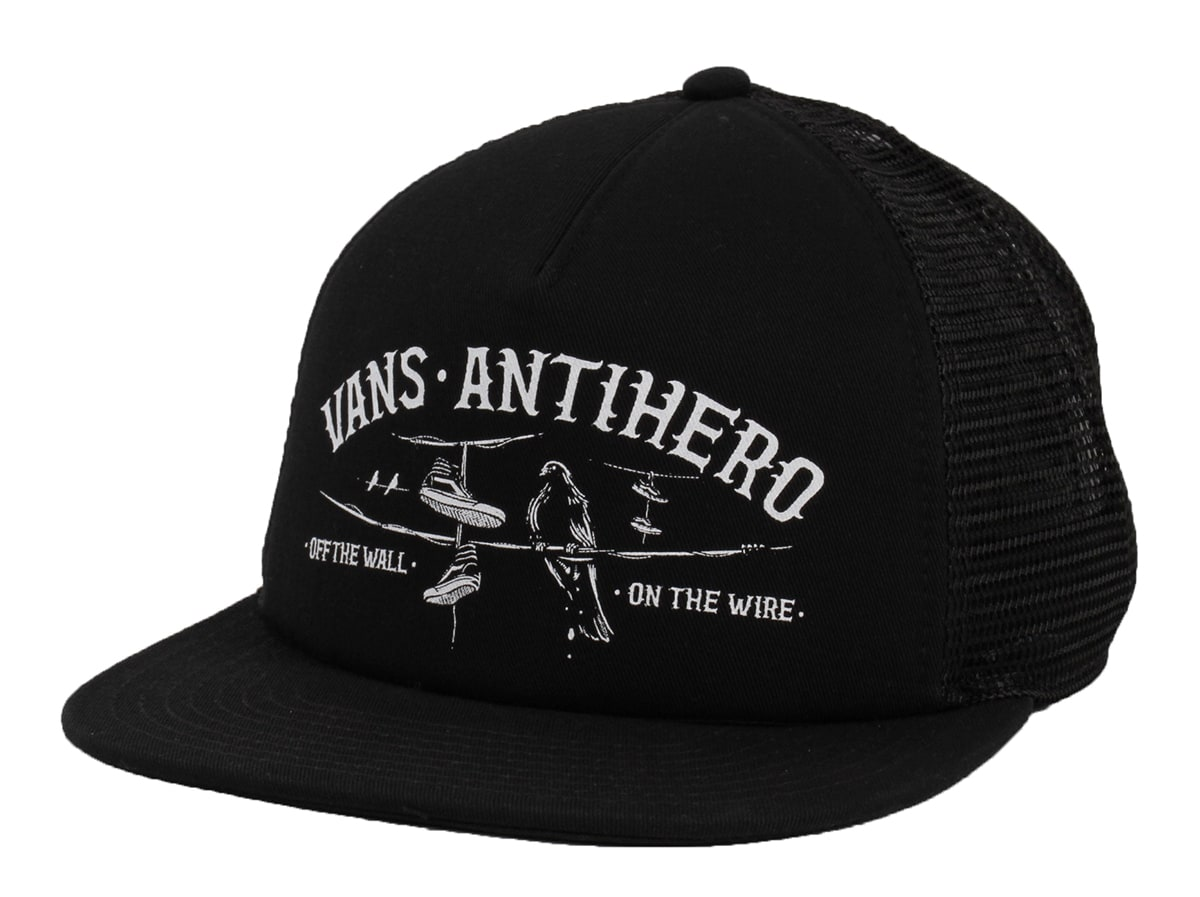 b9c7412f80c Vans X Anti Hero Wired Trucker Cap - Black Zinnia
