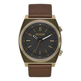 Nixon Brigade Leather Watch - Brass/Black/Taupe