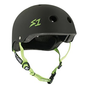S1 'Lifer' Multi Impact Helmet- Matt Black/Green Straps