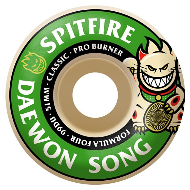 Spitfire Formula Four Daewon Song Burner 99D Skateboard Wheels - Green 51mm (Pack of 4)