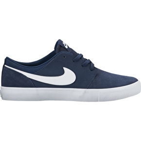 Nike SB Portmore II Solar Skate Shoes - Midnight Navy/White