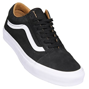 Vans Old Skool Skate Shoes - (Premium Leather) Black/True White