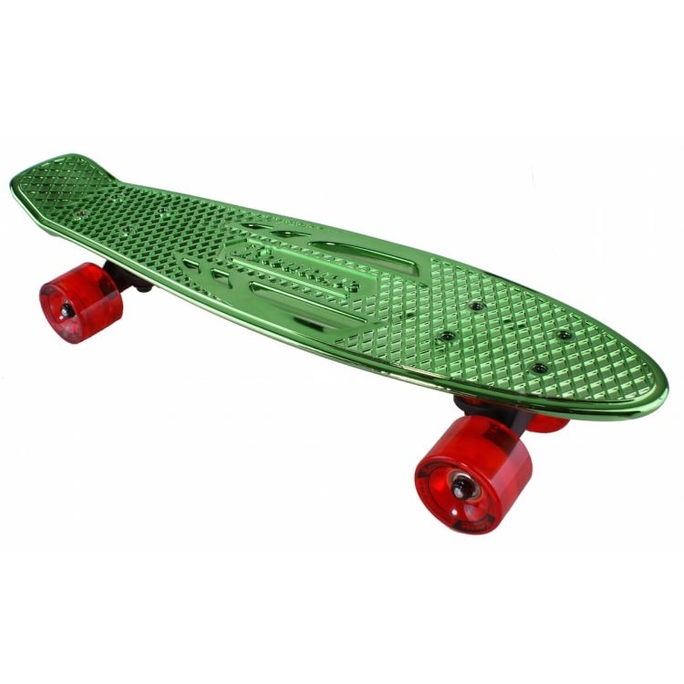 Karnage Chrome Retro Skateboard - Green/Red