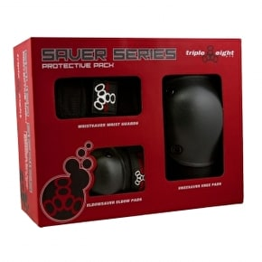 B-Stock Triple 8 Saver Series Triple Pad Set Black - Junior (Box Damage)