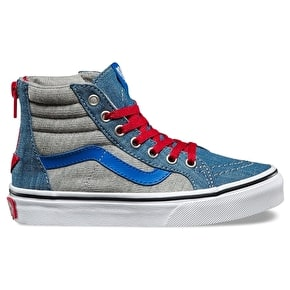 Vans Sk8-Hi Zip Kids Skate Shoes - (Jersey & Denim) Imperial Blue/White