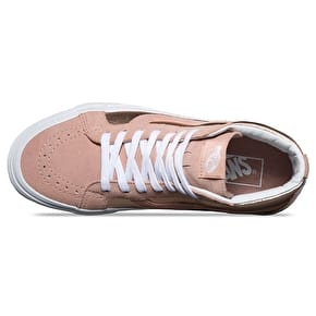 Vans SK8-Hi Reissue Skate Shoes - (2-Tone Metallic) Mahogany Rose/True White