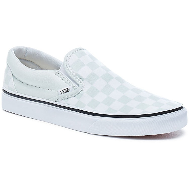 Vans Classic Slip-On Skate Shoes - Checkerboard/Blue Flower/True White