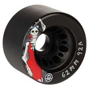 Rollerbones Day Of The Dead Quad Skate Wheels - Black 62mm 92A (4 Pack)