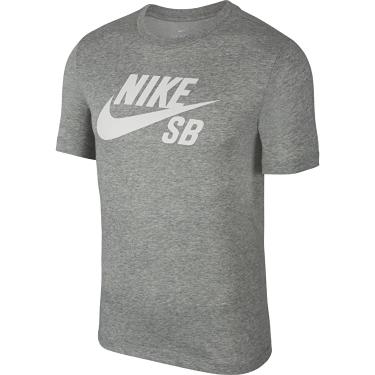 Nike SB Dri Fit T Shirt - Dark Grey Heather/White