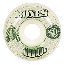 Bones OG 100'S #11 V5 Skateboard Wheels - White