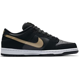 Nike SB Dunk Low Pro Skate Shoes - Black/Metallic Gold/White