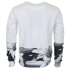 Hype Brushstroke Crew Neck - Black/White