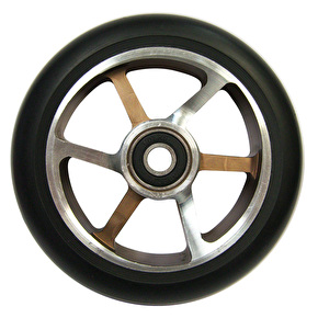 Chilli Pro 6 Spoke 110mm Scooter Wheel w/Bearings - Black/Silver Choco