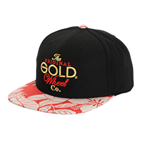 Gold Wheels Original Stack Snapback Cap - Black/Red Floral
