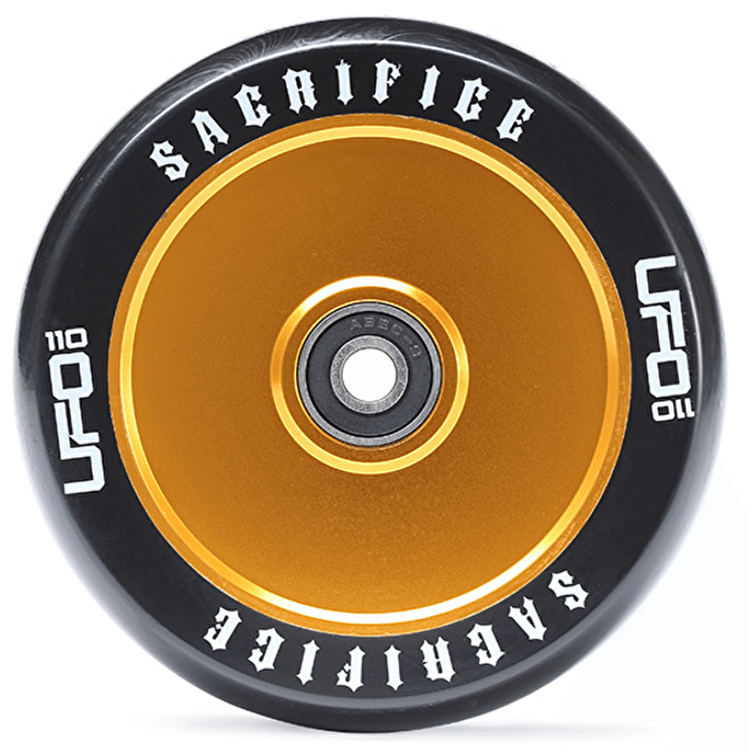 Sacrifice UFO 110mm Scooter Wheel w/Bearings - Black/Gold