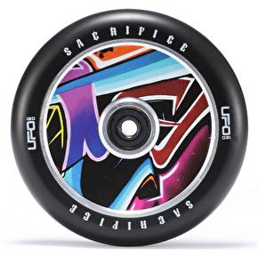 Sacrifice UFO 120mm Scooter Wheel w/Bearings - Black/Graffiti