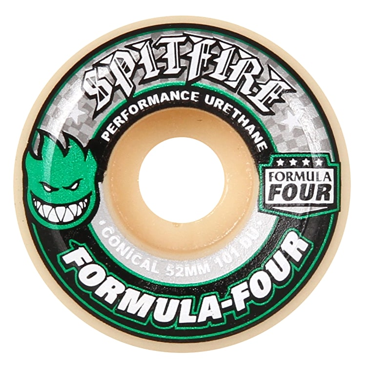 Spitfire Formula Four Conical 101D Skateboard Wheels - Green 52mm (Pack of 4)