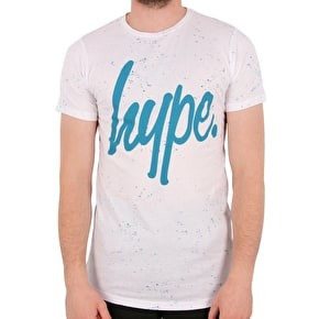 Hype Speckle Script T-Shirt - White/Teal