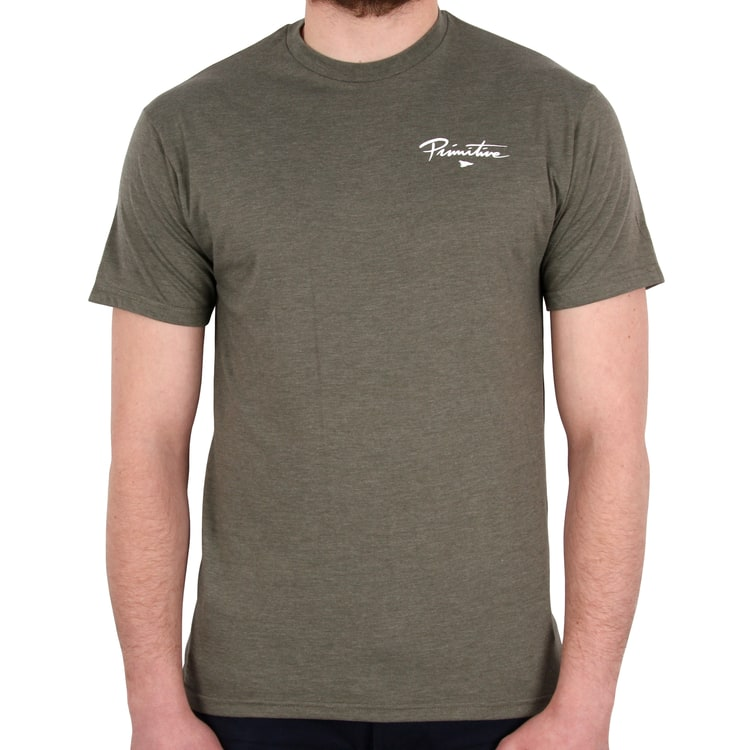 Primitive Nuevo Pennant Core Lightweight T shirt - Olive Heather