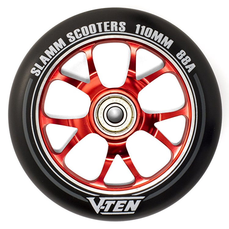 Slamm V-Ten II 110mm Aluminium Core Scooter Wheel - Black/Red