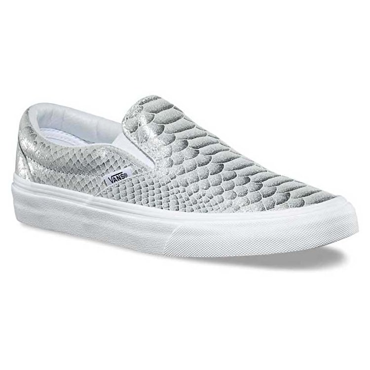 Vans Classic Slip-On Skate Shoes - (Metallic Snake) Silver/True White